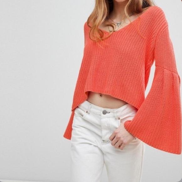 Free People Damsel flared sleeve knit crop sweater